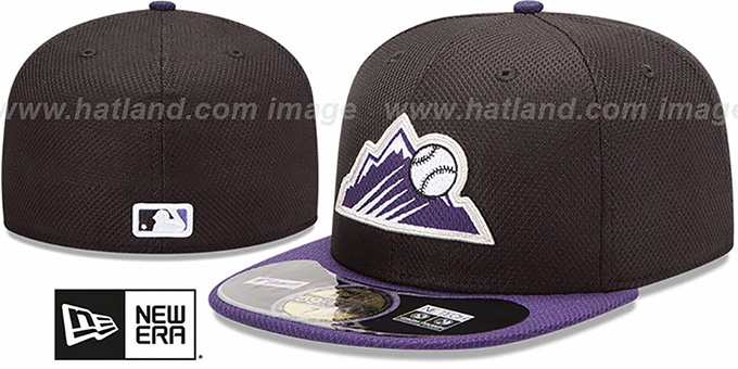 Rockies 'MLB DIAMOND ERA' 59FIFTY Black-Purple BP Hat by New Era : pictured without stickers that these products are shipped with
