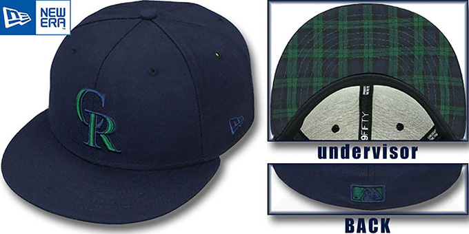 Rockies 'QS UNDER PLAID 2' Navy-Green Fitted Hat by New Era : pictured without stickers that these products are shipped with