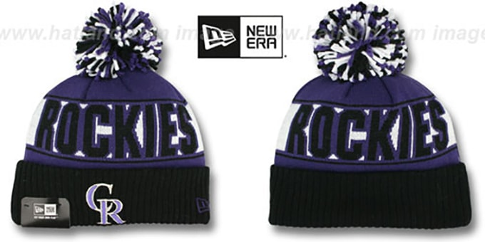 Rockies 'REP-UR-TEAM' Knit Beanie Hat by New Era : pictured without stickers that these products are shipped with