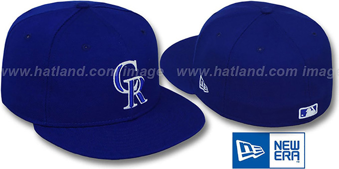 Rockies Royal White '59FIFTY' Fitted Hat by New Era : pictured without stickers that these products are shipped with