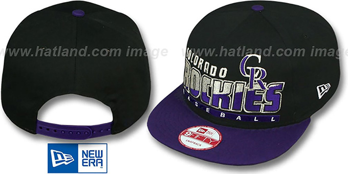 Rockies 'SLICE-N-DICE SNAPBACK' Black-Purple Hat by New Era : pictured without stickers that these products are shipped with