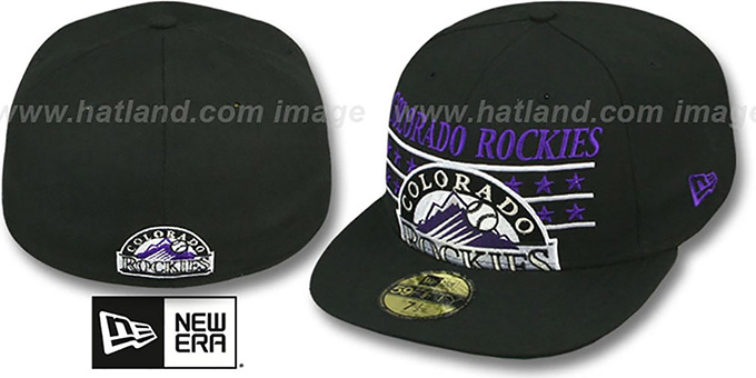 Rockies 'STAR STUDDED' Black Fitted Hat by New Era : pictured without stickers that these products are shipped with