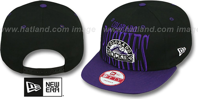 Rockies 'STEP-ABOVE SNAPBACK' Black-Purple Hat by New Era : pictured without stickers that these products are shipped with