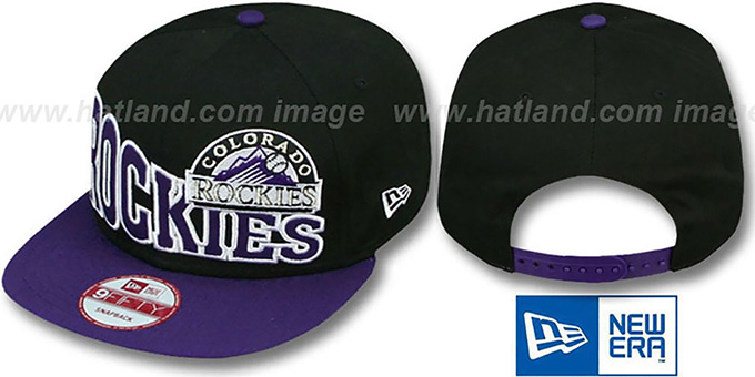 Rockies 'STOKED SNAPBACK' Black-Purple Hat by New Era : pictured without stickers that these products are shipped with