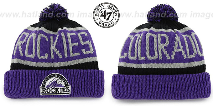 Rockies 'THE-CALGARY' Purple-Black Knit Beanie Hat by Twins 47 Brand : pictured without stickers that these products are shipped with