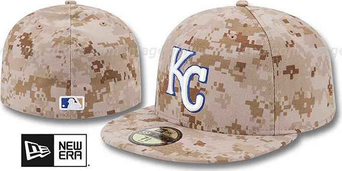 Royals 2013 'STARS N STRIPES' Desert Camo Hat by New Era : pictured without stickers that these products are shipped with