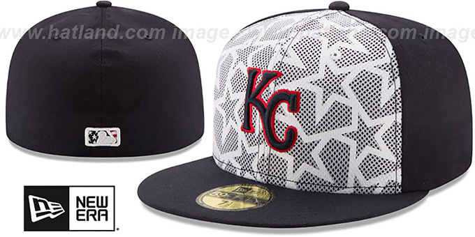 Royals '2016 JULY 4TH STARS N STRIPES' Fitted Hat by New Era : pictured without stickers that these products are shipped with