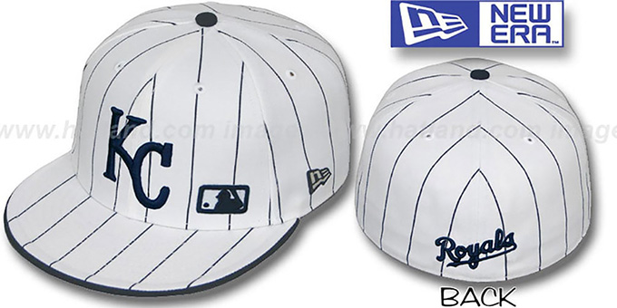 Royals 'FABULOUS' White-Navy Fitted Hat by New Era : pictured without stickers that these products are shipped with