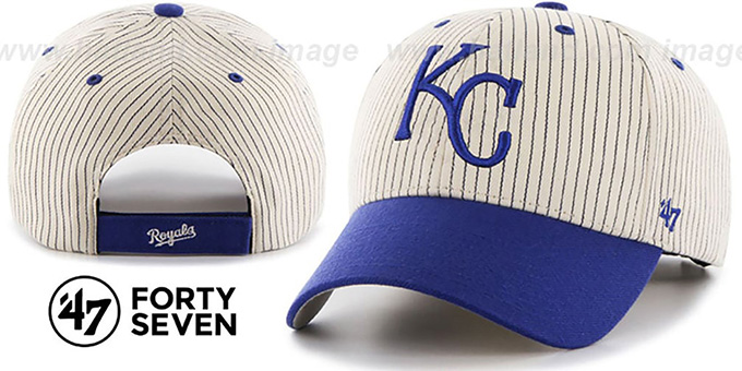 Royals 'HOME-RUN PINSTRIPE STRAPBACK' Hat by Twins 47 Brand : pictured without stickers that these products are shipped with