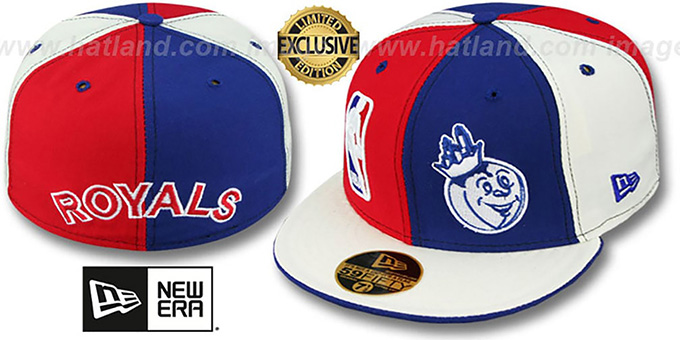 Royals 'HW DOUBLE WHAMMY' Red-Royal-White Fitted Hat : pictured without stickers that these products are shipped with