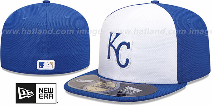 Royals 'MLB DIAMOND ERA' 59FIFTY White-Royal BP Hat by New Era : pictured without stickers that these products are shipped with