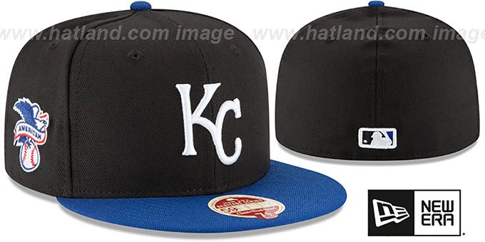 Royals 'MLB WOOL-STANDARD' Black-Royal Fitted Hat by New Era : pictured without stickers that these products are shipped with