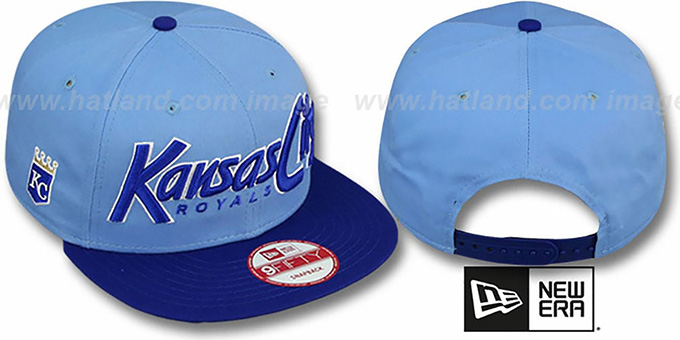 Royals 'SNAP-IT-BACK SNAPBACK' Sky-Royal Hat by New Era : pictured without stickers that these products are shipped with