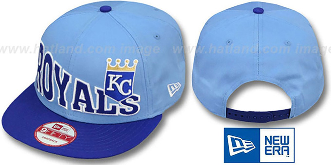 Royals 'STOKED SNAPBACK' Sky-Royal Hat by New Era : pictured without stickers that these products are shipped with
