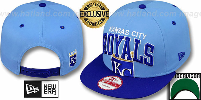 Royals 'SUPER-LOGO ARCH SNAPBACK' Sky-Royal Hat by New Era : pictured without stickers that these products are shipped with