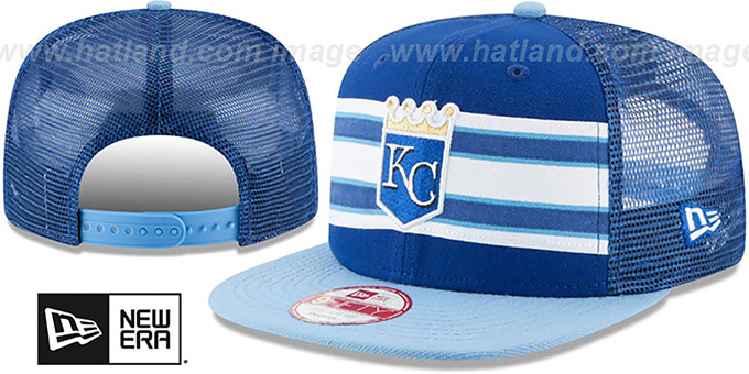 Royals 'THROWBACK-STRIPE SNAPBACK' Royal-Sky Hat by New Era : pictured without stickers that these products are shipped with