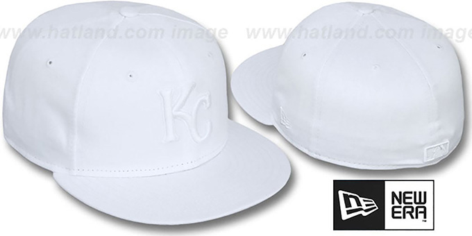 Royals 'WHITEOUT' Fitted Hat by New Era : pictured without stickers that these products are shipped with