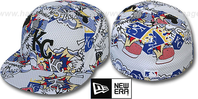 Royals 'YO-CITY POP-UP' White-Multi Fitted Hat by New Era : pictured without stickers that these products are shipped with
