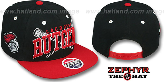 Rutgers 'LACROSSE SUPER-ARCH SNAPBACK' Black-Red Hat by Zephyr