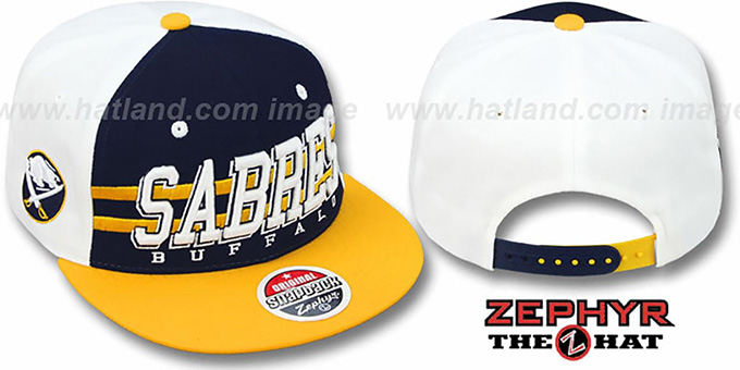 Sabres '2T SUPERSONIC SNAPBACK' Navy-Gold Hat by Zephyr : pictured without stickers that these products are shipped with