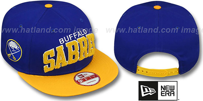 Sabres 'CHENILLE-ARCH SNAPBACK' Royal-Gold Hat by New Era : pictured without stickers that these products are shipped with