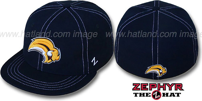 Sabres 'CONTRAST THREAT' Navy Fitted Hat by Zephyr : pictured without stickers that these products are shipped with