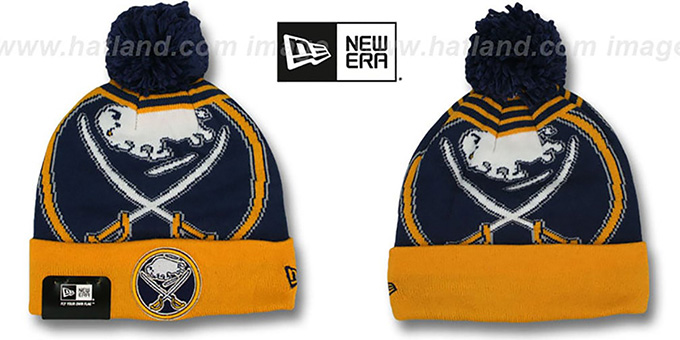 Sabres 'LOGO WHIZ' Navy-Gold Knit Beanie Hat by New Era : pictured without stickers that these products are shipped with