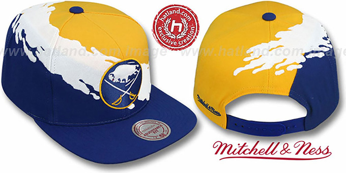 Sabres 'PAINTBRUSH SNAPBACK' Gold-White-Royal Hat by Mitchell & Ness : pictured without stickers that these products are shipped with