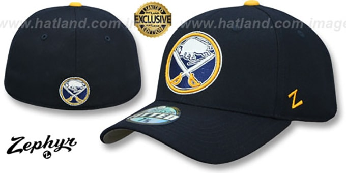 Sabres 'SHOOTOUT' Navy Fitted Hat by Zephyr : pictured without stickers that these products are shipped with
