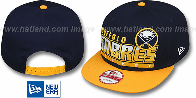 Sabres 'SLICE-N-DICE SNAPBACK' Navy-Gold Hat by New Era : pictured without stickers that these products are shipped with