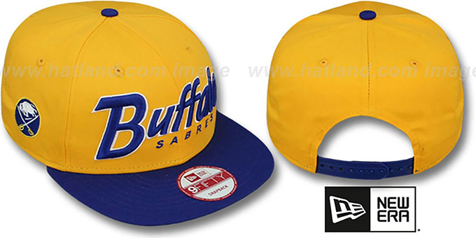 Sabres 'SNAP-IT-BACK SNAPBACK' Gold-Royal Hat by New Era : pictured without stickers that these products are shipped with