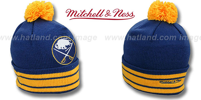 Sabres 'XL-LOGO BEANIE' Navy by Mitchell and Ness : pictured without stickers that these products are shipped with