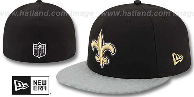 Saints '2014 NFL DRAFT' Black Fitted Hat by New Era : pictured without stickers that these products are shipped with
