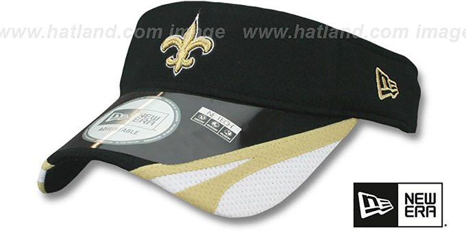 Saints '2014 NFL TRAINING' Black Visor by New Era : pictured without stickers that these products are shipped with