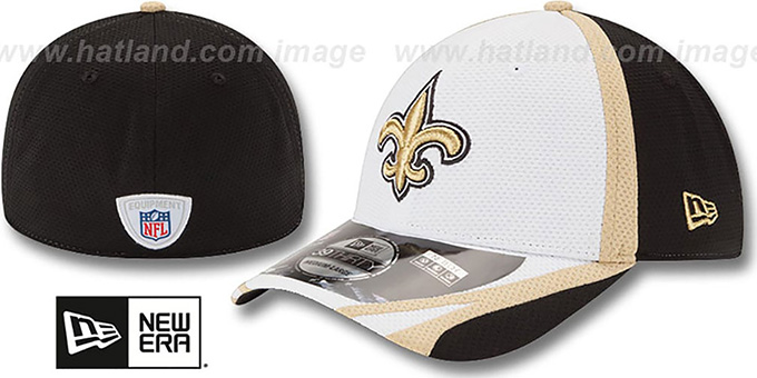 Saints '2014 NFL TRAINING FLEX' White Hat by New Era : pictured without stickers that these products are shipped with