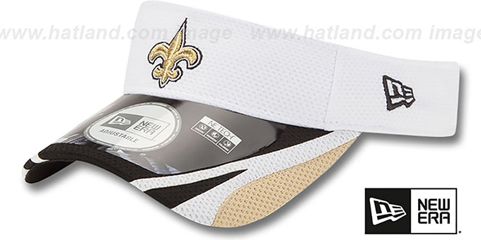 Saints '2014 NFL TRAINING' White Visor by New Era : pictured without stickers that these products are shipped with