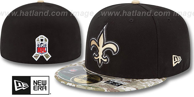 Saints '2014 SALUTE-TO-SERVICE' Black-Desert Fitted Hat by New Era : pictured without stickers that these products are shipped with