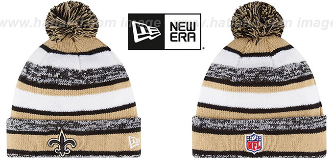 Saints '2014 STADIUM' Knit Beanie Hat by New Era : pictured without stickers that these products are shipped with