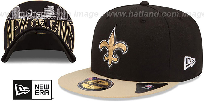 Saints '2015 NFL DRAFT' Black-Gold Fitted Hat by New Era : pictured without stickers that these products are shipped with