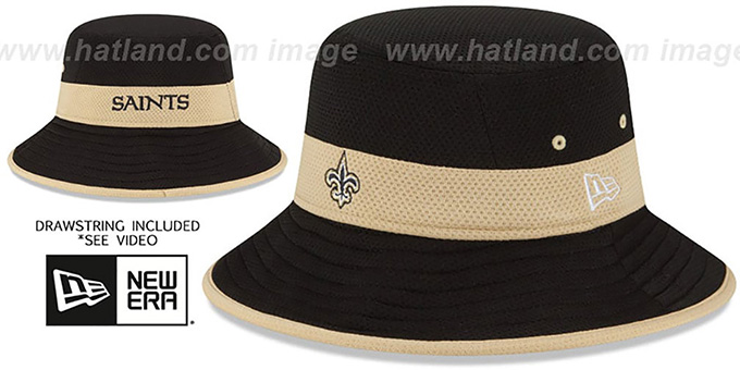 Saints '2015 NFL TRAINING BUCKET' Black Hat by New Era : pictured without stickers that these products are shipped with