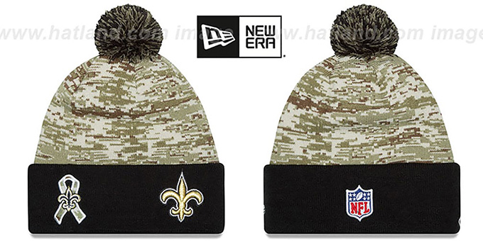 Saints '2015 SALUTE-TO-SERVICE' Knit Beanie Hat by New Era : pictured without stickers that these products are shipped with