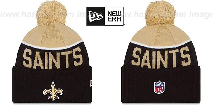 Saints '2015 STADIUM' Black-Gold Knit Beanie Hat by New Era : pictured without stickers that these products are shipped with