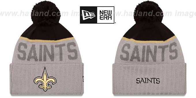 Saints '2015 STADIUM' Grey-Black Knit Beanie Hat by New Era : pictured without stickers that these products are shipped with