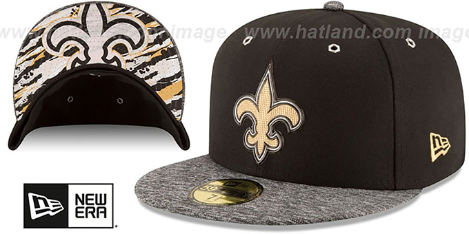 Saints '2016 NFL DRAFT' Fitted Hat by New Era : pictured without stickers that these products are shipped with