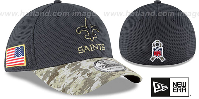 Saints '2016 SALUTE-TO-SERVICE FLEX' Grey-Desert Hat by New Era : pictured without stickers that these products are shipped with