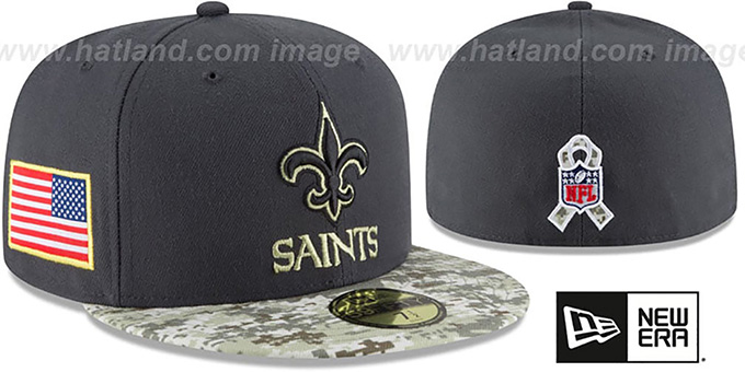 New Orleans Saints 2016 SALUTE-TO-SERVICE Grey-Desert Fitted Hat 0abec7efa