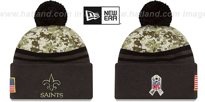 Saints '2016 SALUTE-TO-SERVICE' Knit Beanie Hat by New Era : pictured without stickers that these products are shipped with