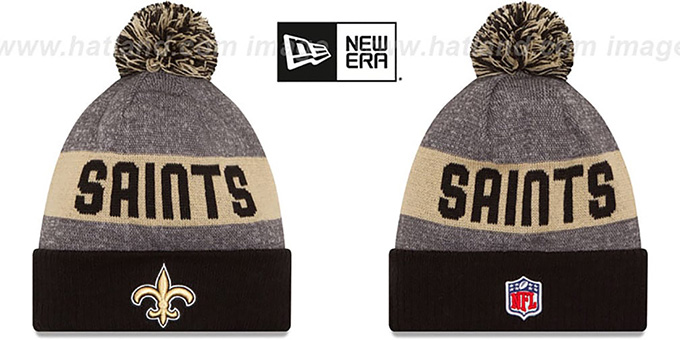 Saints '2016 STADIUM' Black-Gold-Grey Knit Beanie Hat by New Era : pictured without stickers that these products are shipped with