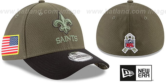 Saints '2017 SALUTE-TO-SERVICE FLEX' Green-Black Hat by New Era : pictured without stickers that these products are shipped with