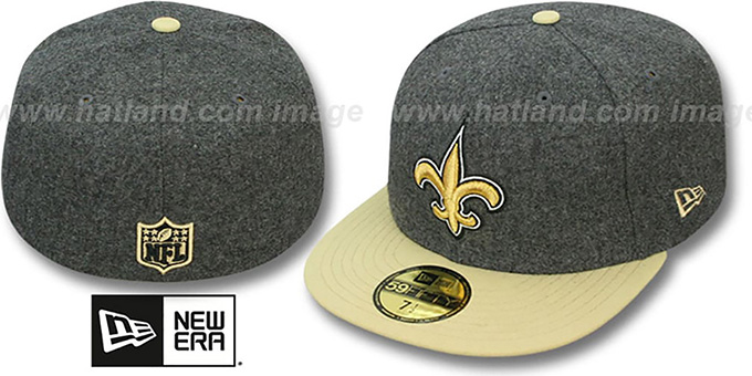 Saints '2T NFL MELTON-BASIC' Grey-Gold Fitted Hat by New Era : pictured without stickers that these products are shipped with
